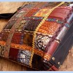 Разноцветные сумки со вставками из разных кусков и цветов